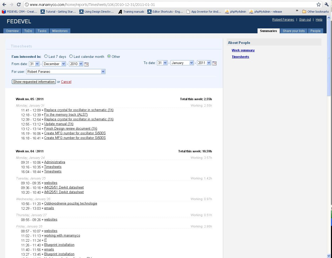 Time sheets and Work summary screenshots from ProjectAndTask – Timesheet Design