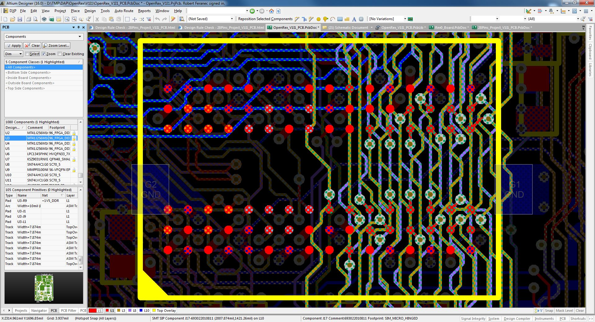 PCB - Fly-by - D31-D0 - stubs - All layers